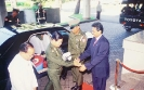 Saman Sarathchandra greets and welcomes Prime Minister of the Union of Myanmar General Khin Nyunt (2004) From right to left – Saman Sarathchandra, Prime Minister Khin Nyunt and Foreign minister H.E. Win Aung