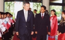 """An honorable moment"" Singapore Prime Minister H.E.  Lee Hsien Loong is welcomed by Saman Sarathchandra"