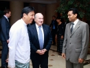"FIFA President Joseph. S. Blatter  and Myanmar Football Federation President U Zaw Zaw at Sedona Yangon with the Hotel Manager Saman Sarathchandra ""sharing thoughts and views """