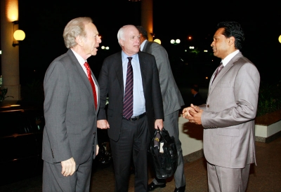""" Dreams you never thought you'd dream""Saman Sarathchandra with Mr Joe Liberman &  Mr. McCain"